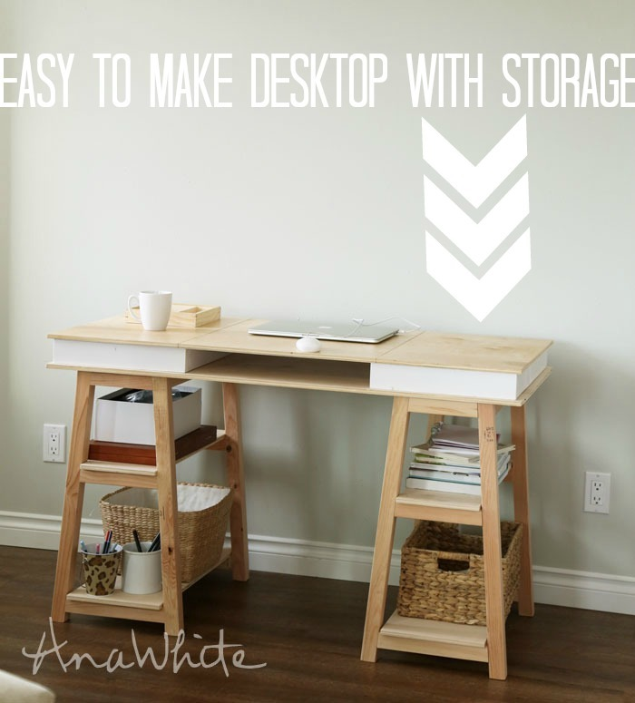 A desk with multiple storage options