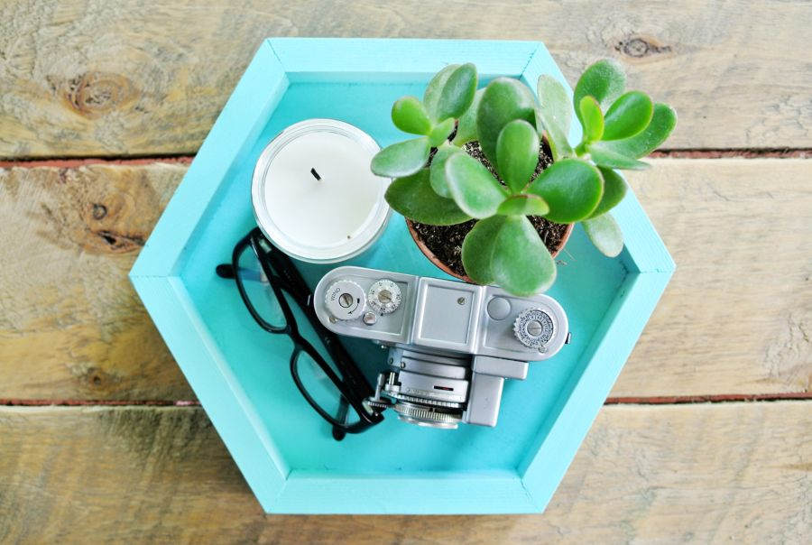 A versatile wooden tray with a geometric design
