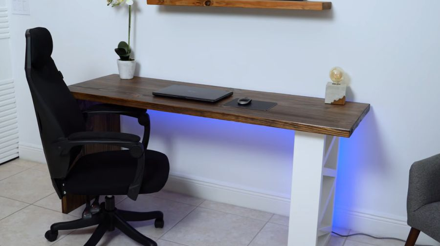 Affordable desk with accent lighting