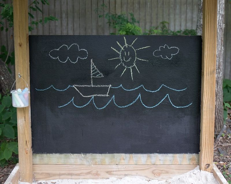 An outdoor chalkboard for the kids