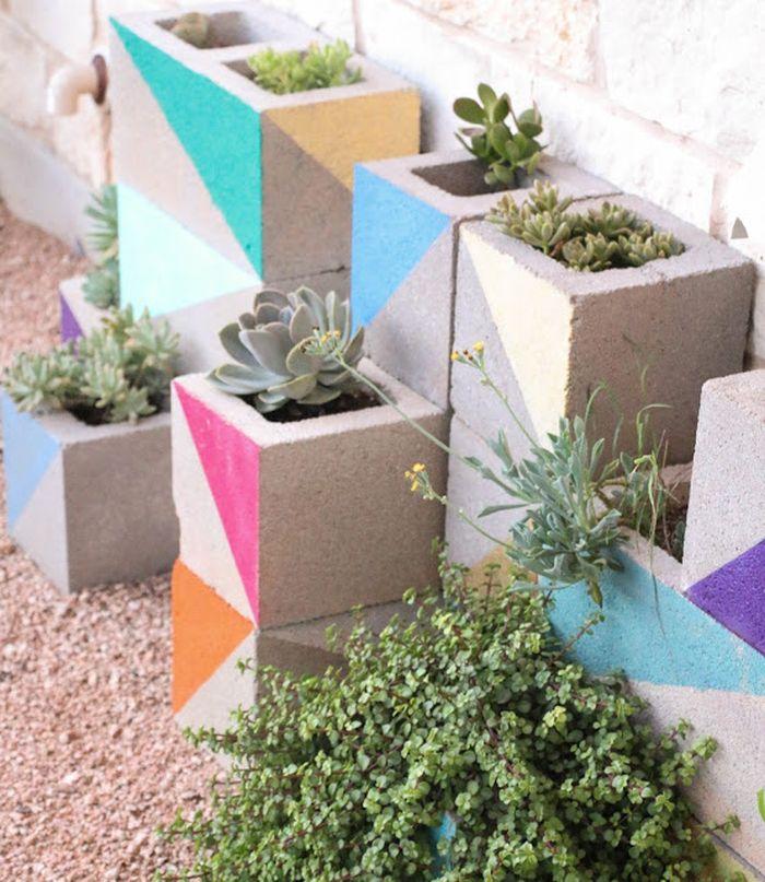 Colorful cinderblock planters