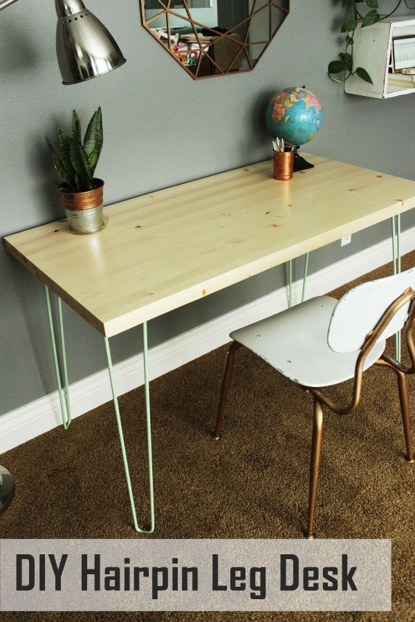 Contemporary desk with colored hairpin legs