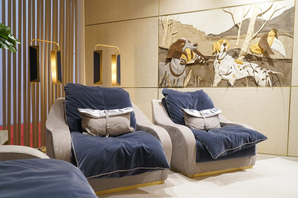 The more faded shade of blue has a soothing effect on this space and allows the golden accents to stand out a bit more