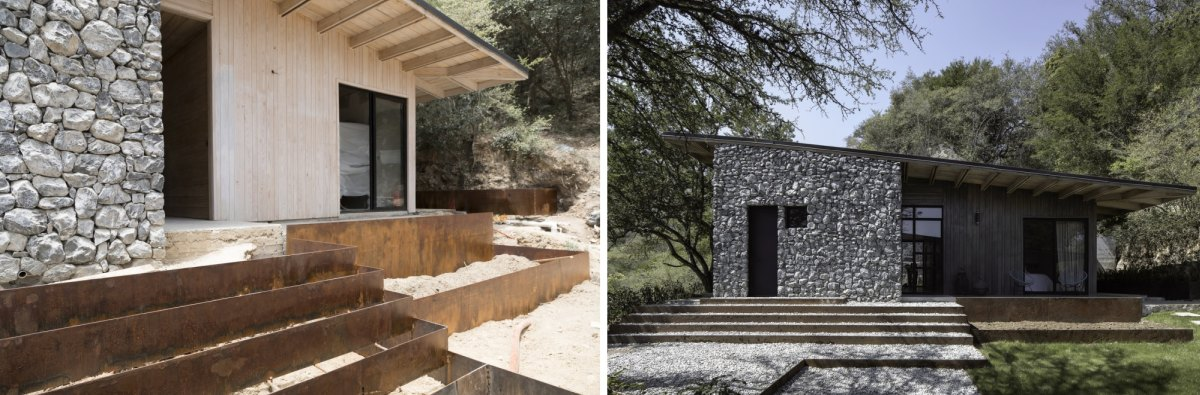 The rigid shapes and the overall aesthetic of the cabin are always balanced out by organic elements