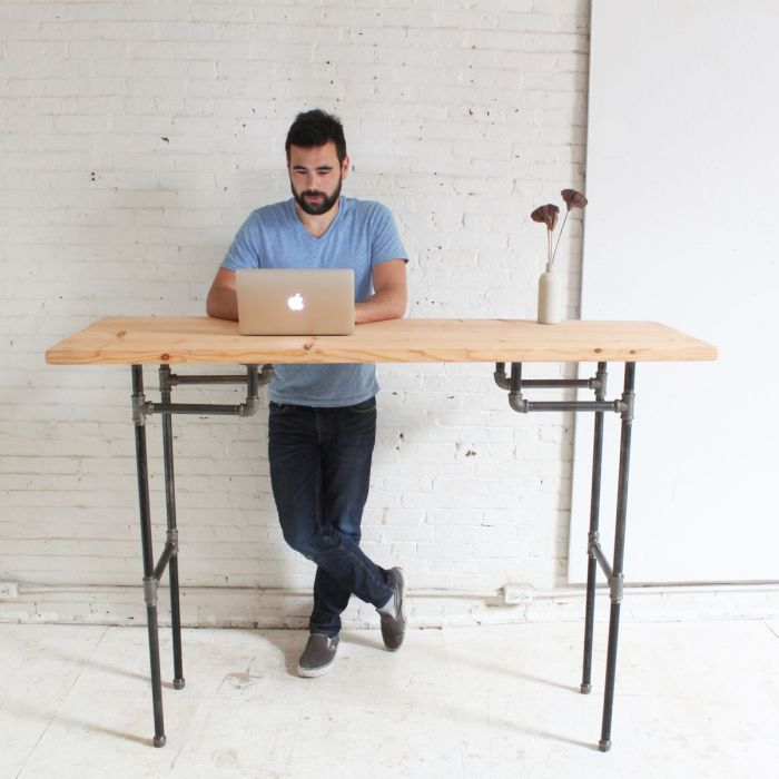 Industrial-style standing desk
