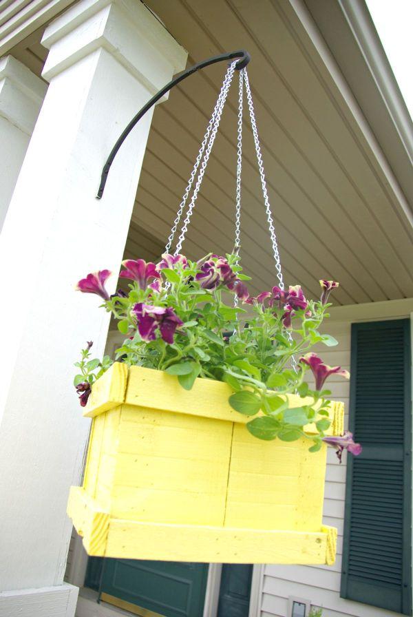 Large hanging planter made of pallet wood