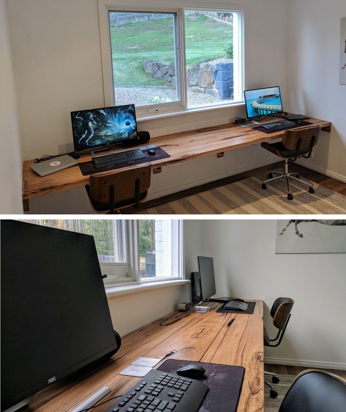A two-person live edge shelf desk