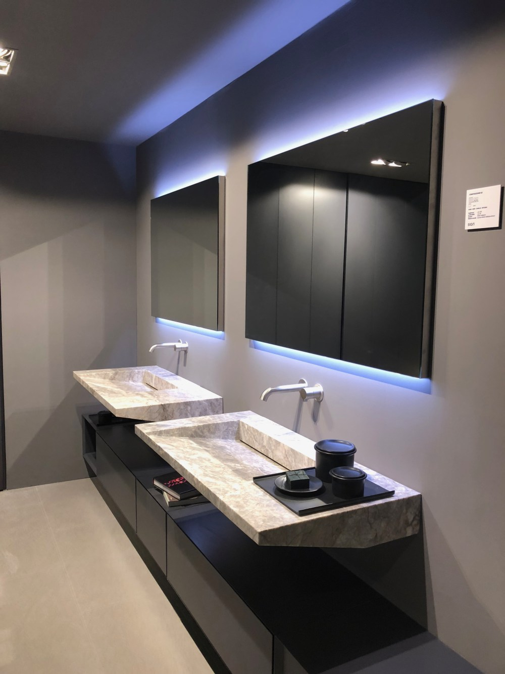In some cases the cabinet and the sink or sinks can appear as separate structures
