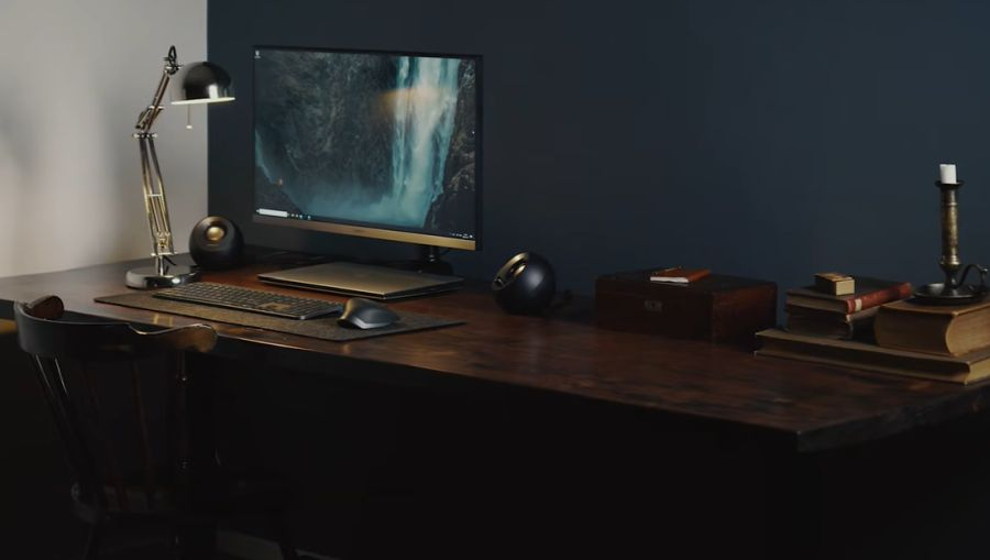 Pine wood desk with a rustic finish