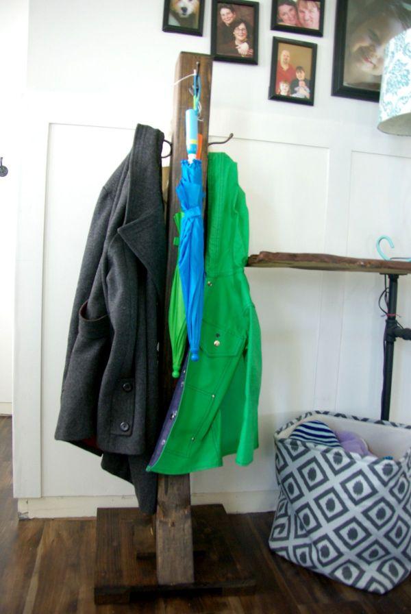 Rustic solid wood coat rack