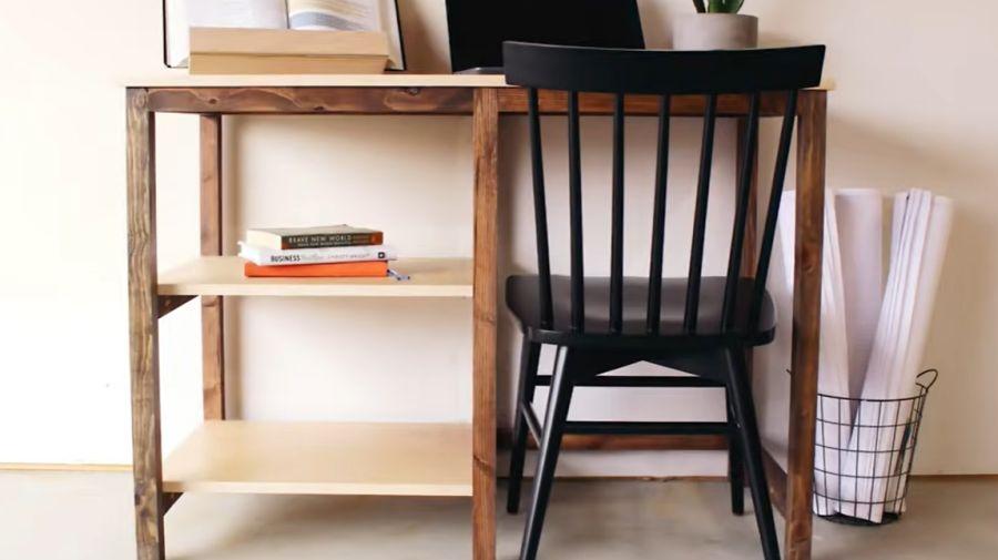 Small desk with open shelf storage