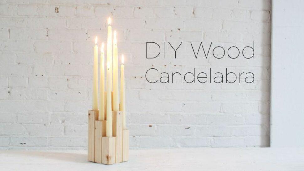 Stylish candelabra made of wood bits
