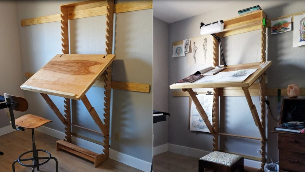 Adjustable desk for painting and drawing