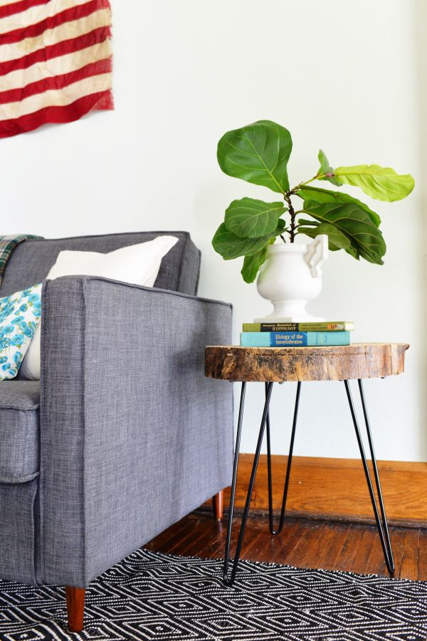 Wood slab accent table with hairpin legs