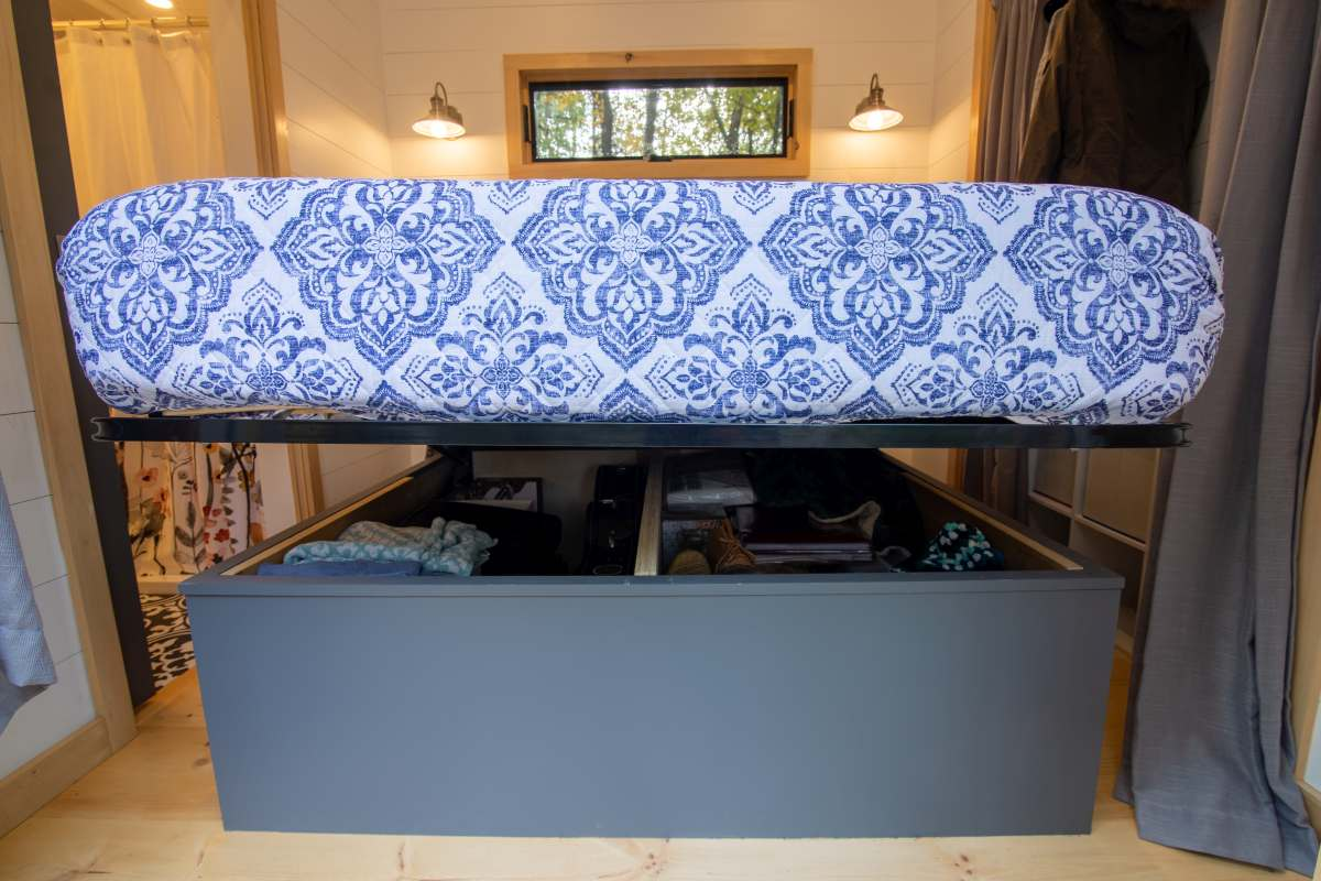 There's also more storage underneath the mattress, inside the base of the bed