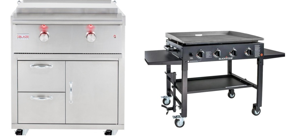 Blaze LTE 30-Inch Natural Gas Griddle on Deluxe Cart with Lights VS Blackstone 36-Inch 4-Burner Propane Outdoor Griddle Cooking