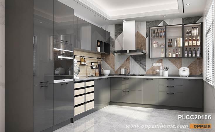 Glossy Modern Gray Cabinets