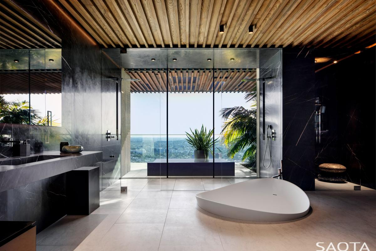 The en-suite bathrooms are just as glamorous, enjoying minimalist and exotic designs
