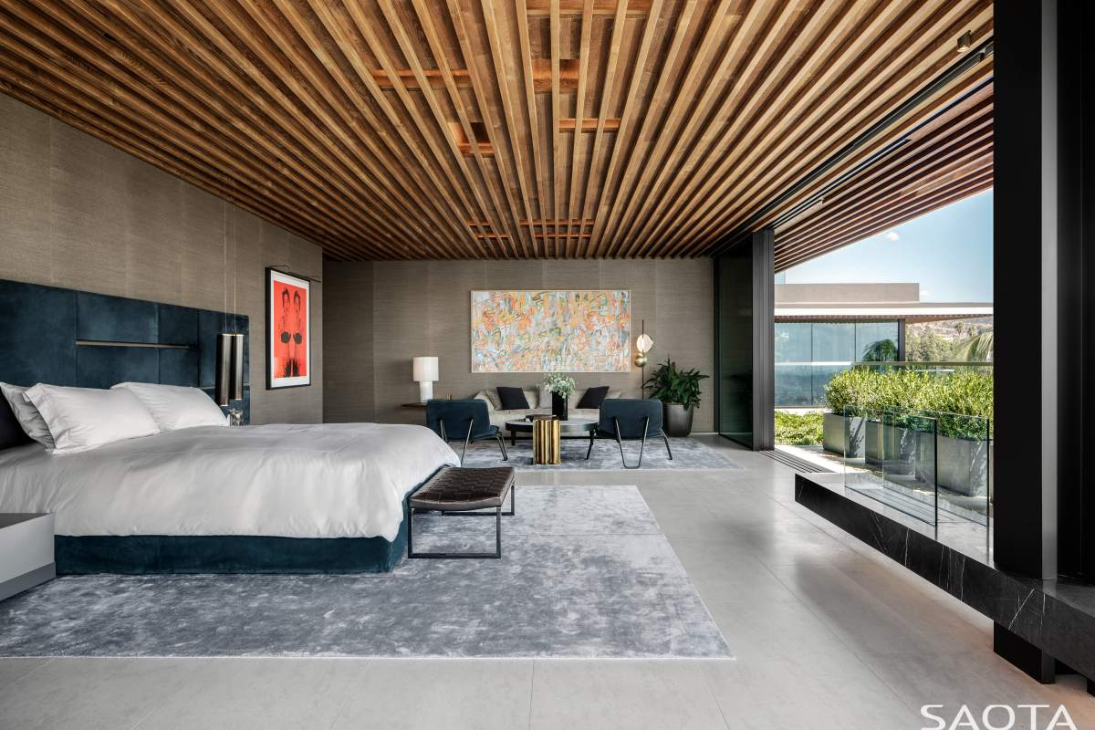 The bedrooms have beautiful wooden ceilings which extends onto the terraces