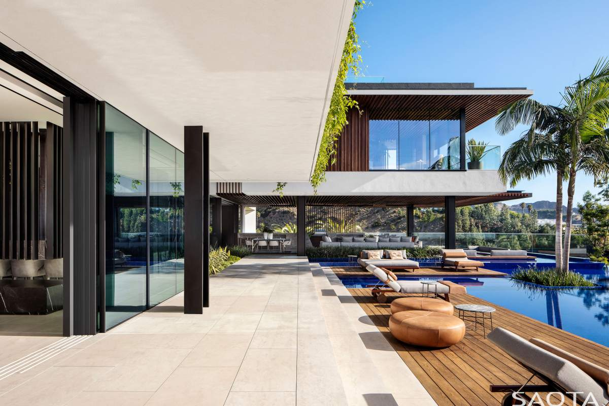 The wooden deck sections are pool-related spaces separate from the main deck areas