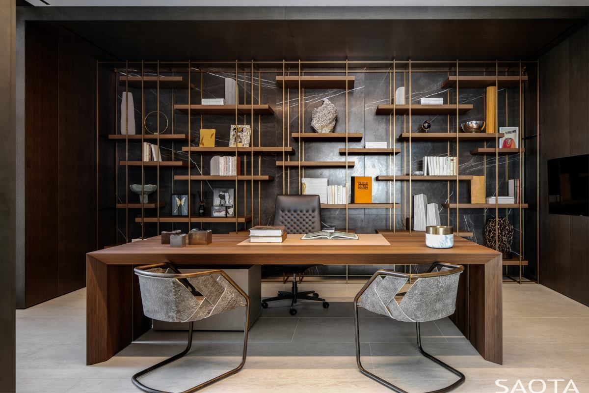 There's also a home office with an elegant wooden deck and an intricate shelving unit