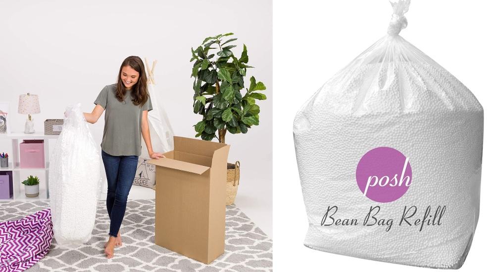 Posh Beanbags Bean Bag Refill, 100 L, Virgin New White