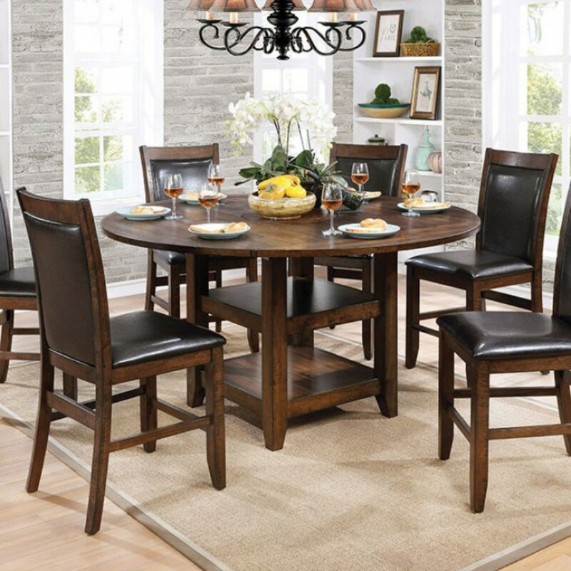 Round Extendable Dining Table Seats 6, Round Extendable Dining Table Set With 6 Chairs