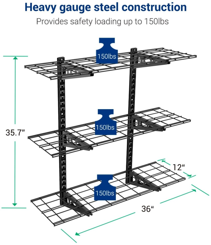 Fleximounts 3-Tier Storage Wall Shelves