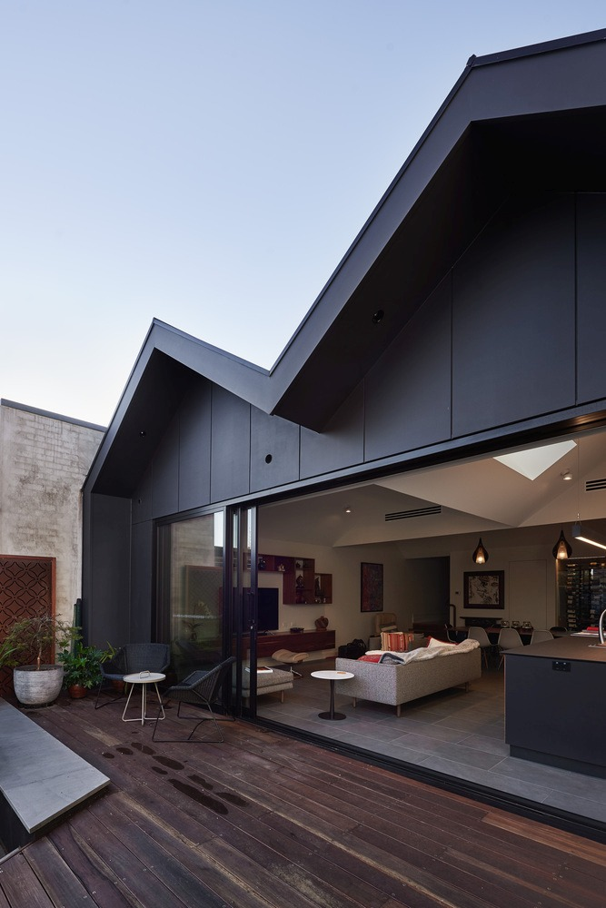 When the sliding doors are open, the living area extends seamlessly outside
