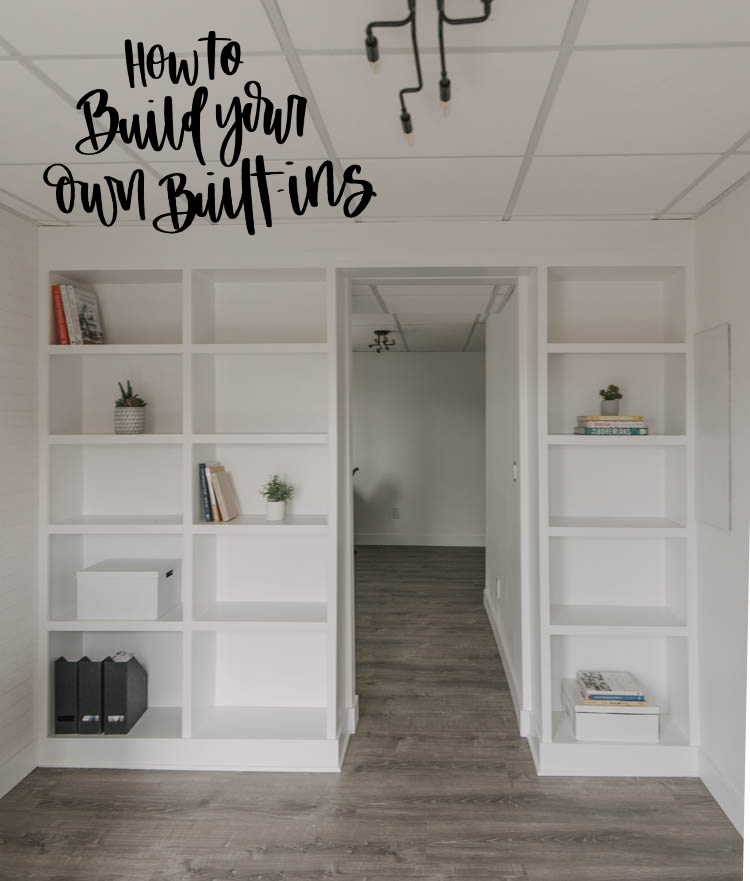 Transform Your Basement Into an Office with diy built in shelves
