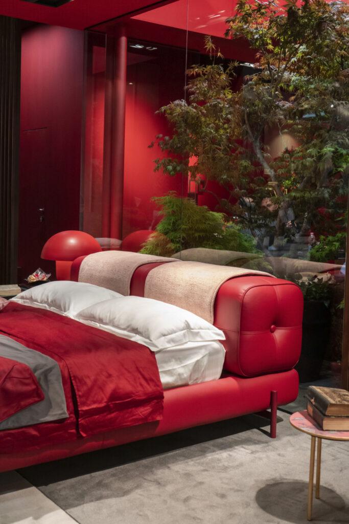 Red bedroom color- upholstered bed