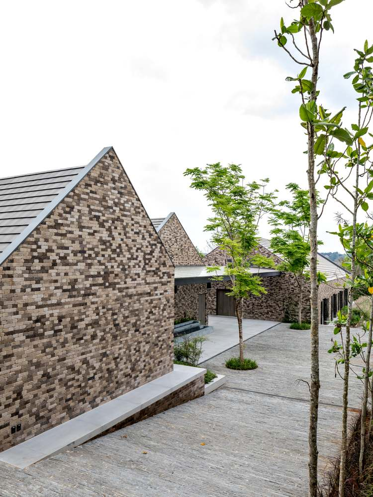 The assorted brick pattern on the exterior walls helps the structures to more easily blend into the surroundings
