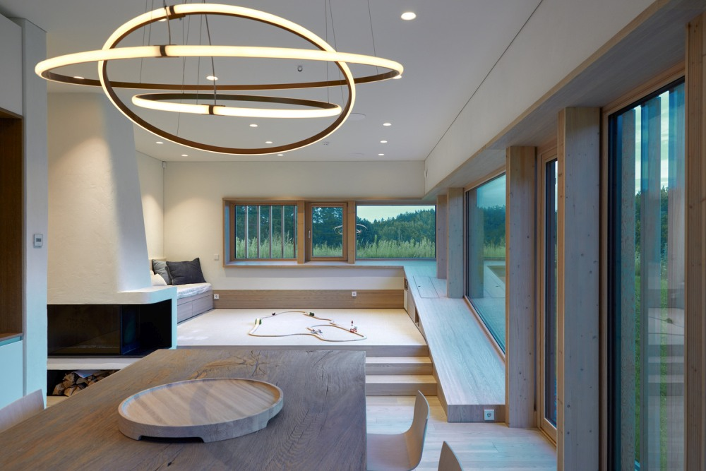 The interior is simplistic and modern, enhances by glamorous lighting and a beautiful panorama