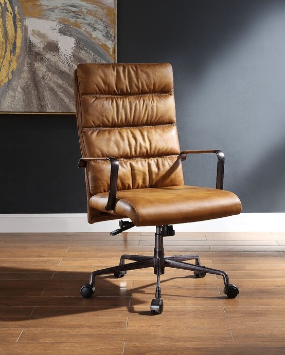 Office With These Leather Desk Chairs, Real Leather Office Chair