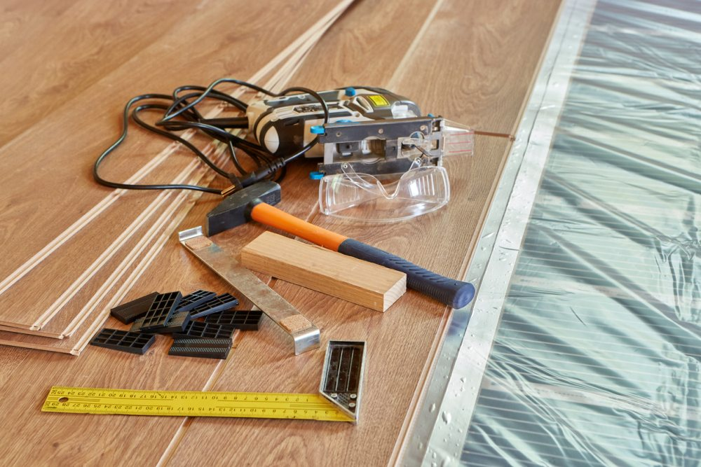 Covering with laminate floor the radiant heating