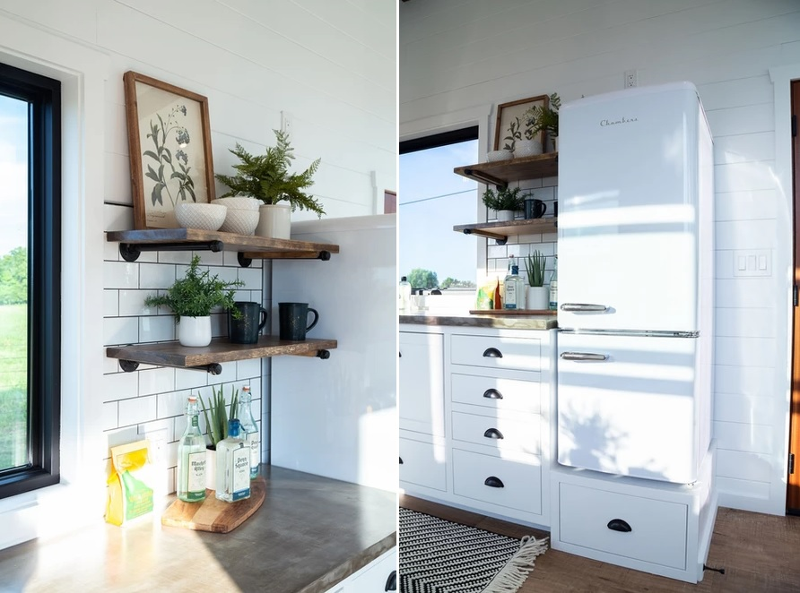 Open shelves fill in the little open spaces in the kitchen, maximizing its storage capacity