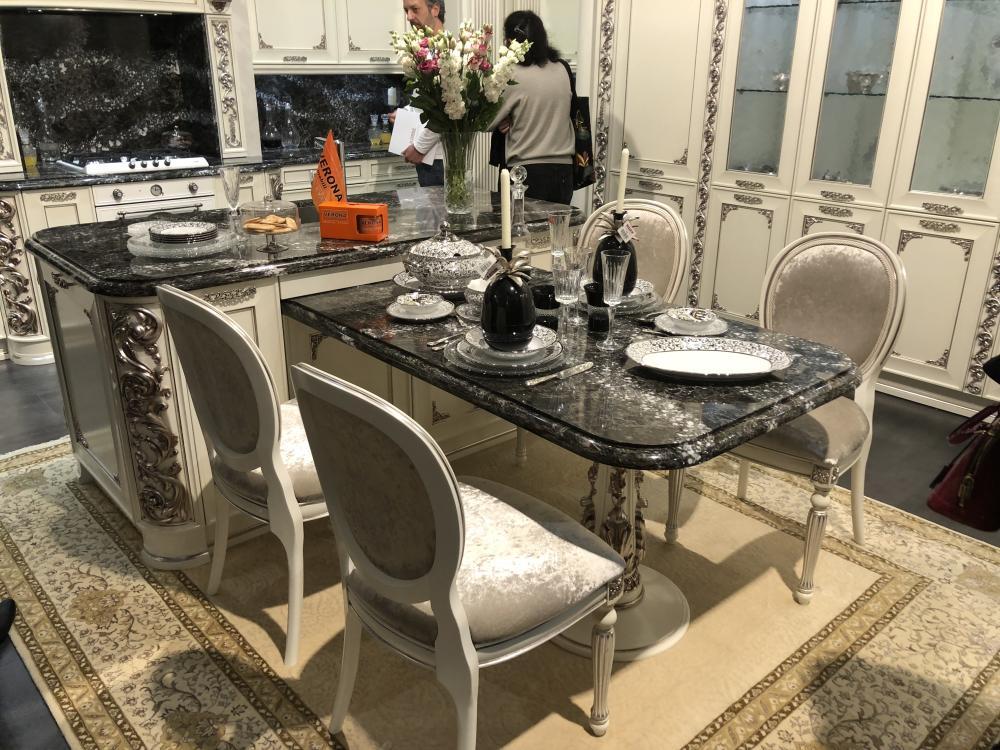 Luxury marble kitchen layout with island