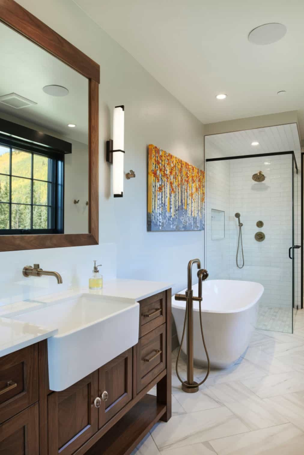 There's plenty of space in this bathroom for both a freestanding tub and a glass walk-in shower