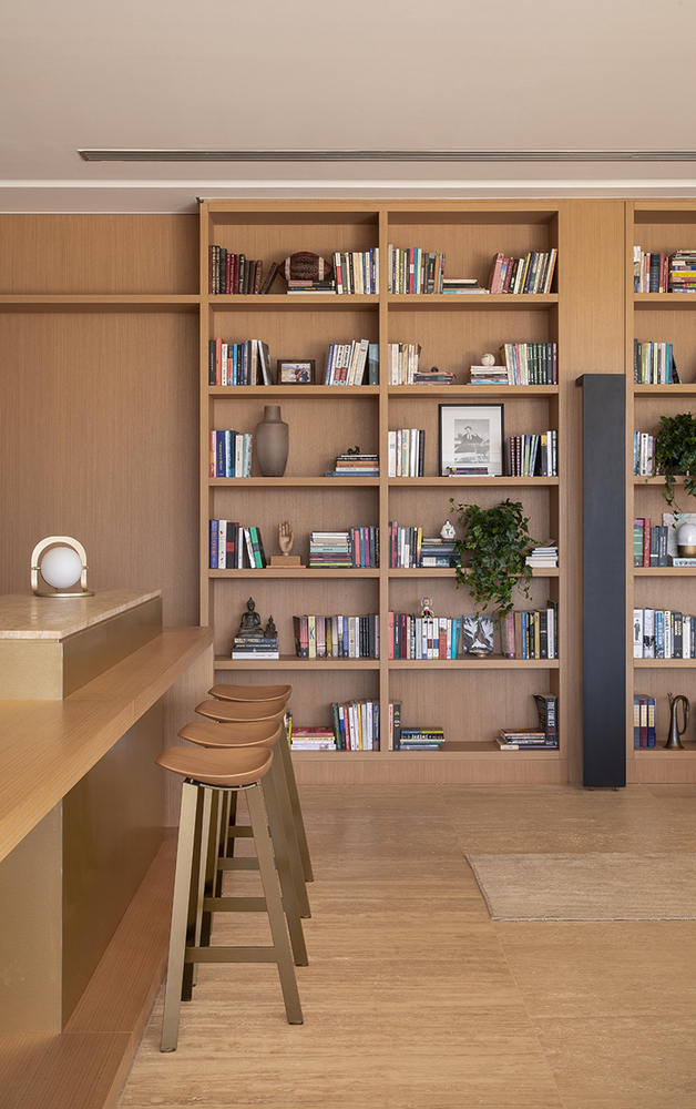 The palette of materials and colors throughout the interior is warm and subdued