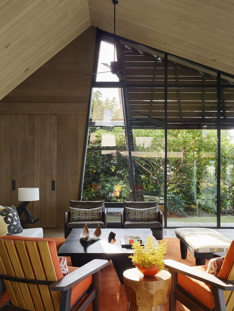 The main living pod is clad in cedar wood and has an inviting interior
