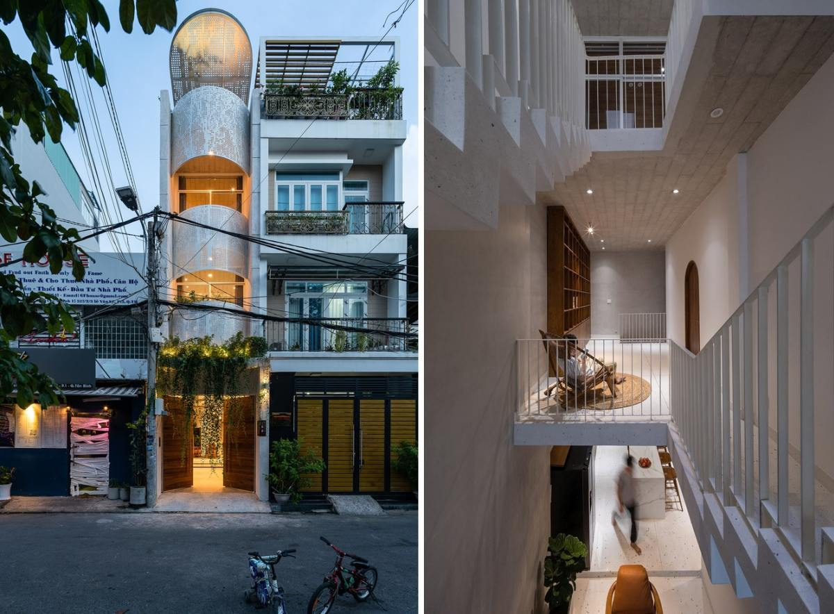 Beautiful Family House With A Perforated Facade On A Very Narrow Plot
