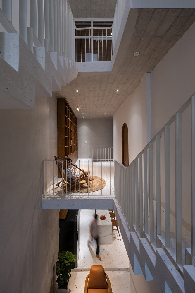 Access between the floors throughout the house is done in a variety of different ways