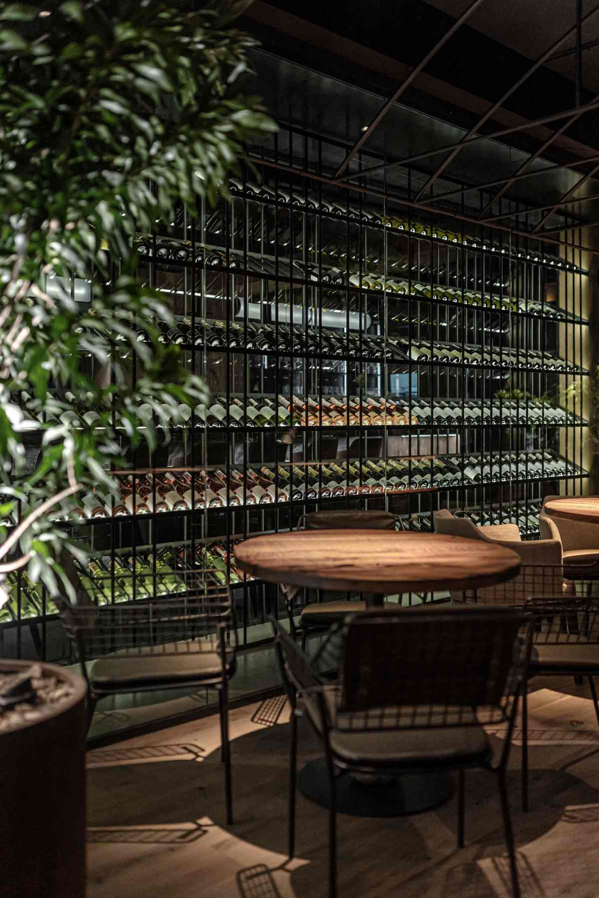 The main area and the terrace are separated by this large wine cabinet