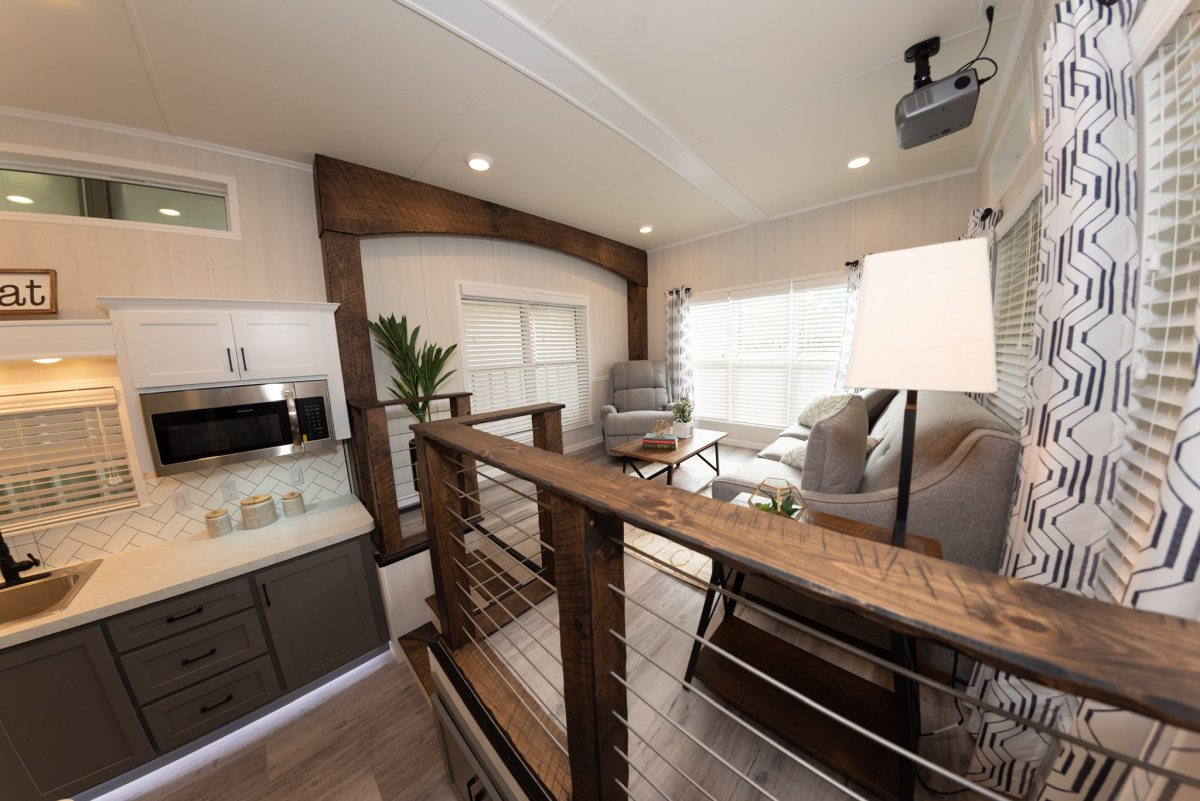 There's basically two main components to the interior: the kitchen and the living area