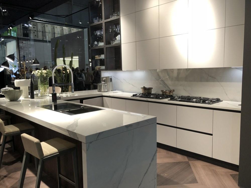 White marble interior design kitchen with island