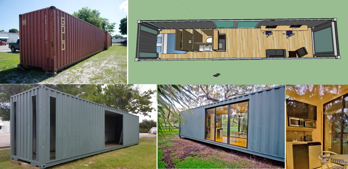 Aside from painting it and adding the windows, no other changes were done to the exterior of the container