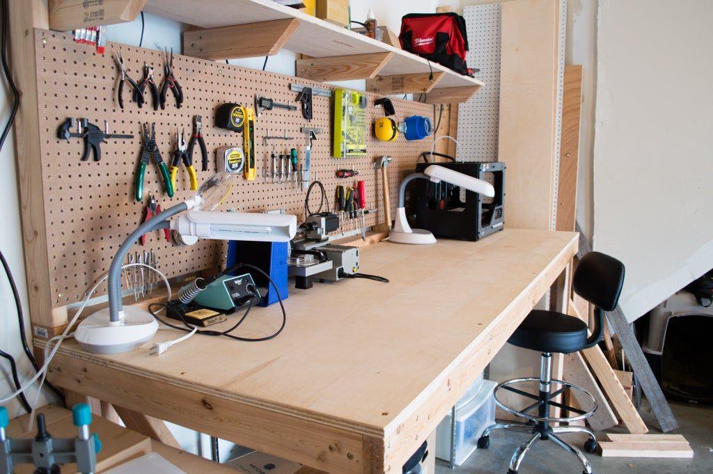 Workbench with a pegboard organizer