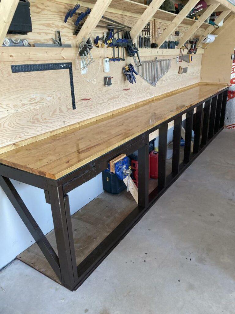 Minimalist wall-mounted workbench design