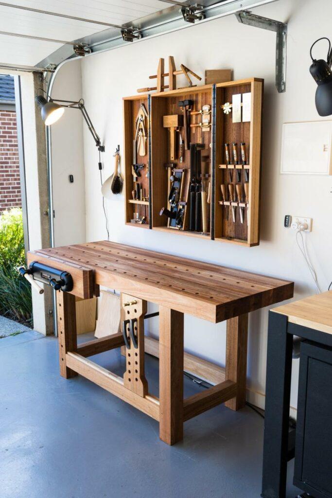 Stylish workbench and wall cabinet combo