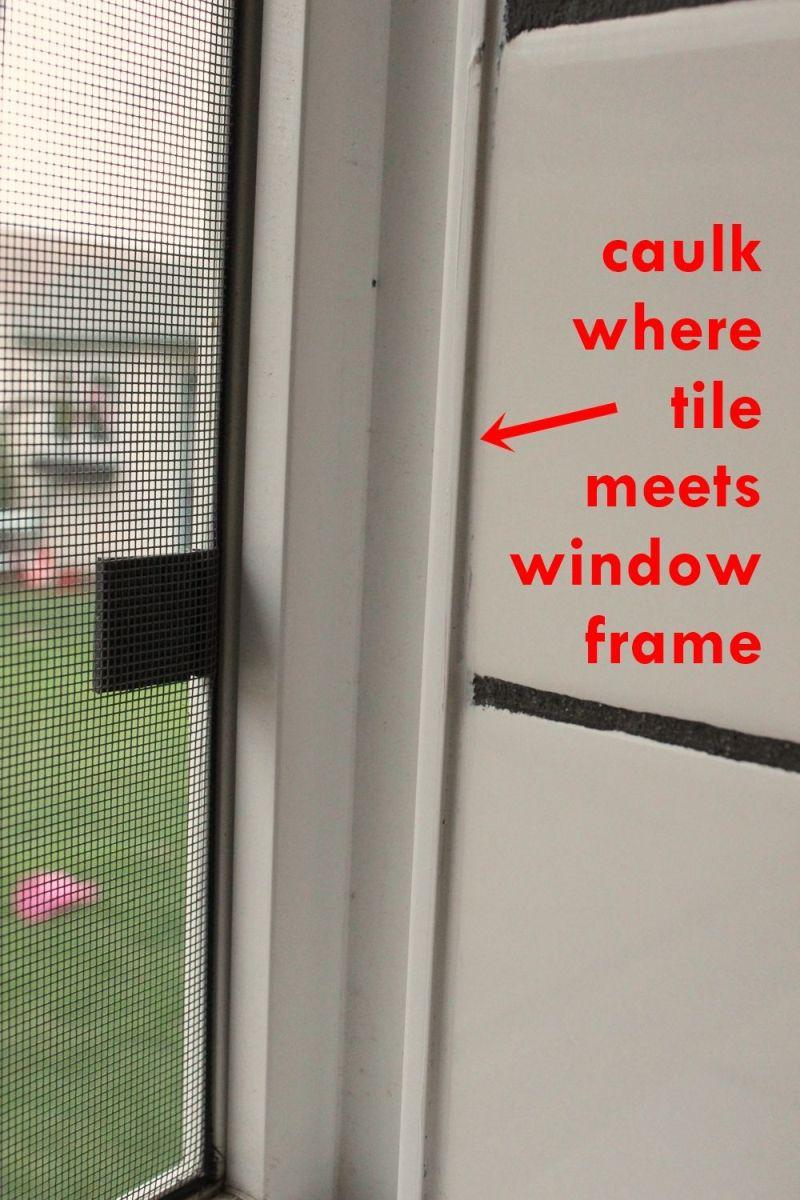 bathroom caulk tile meets window